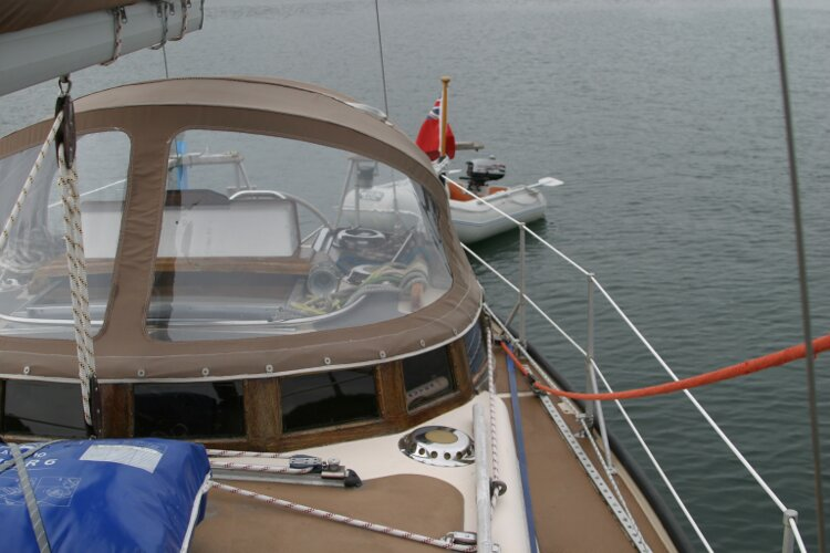 Bruce Roberts 34 Sailing Yachtfor sale View aft, port side - Showing spray hood