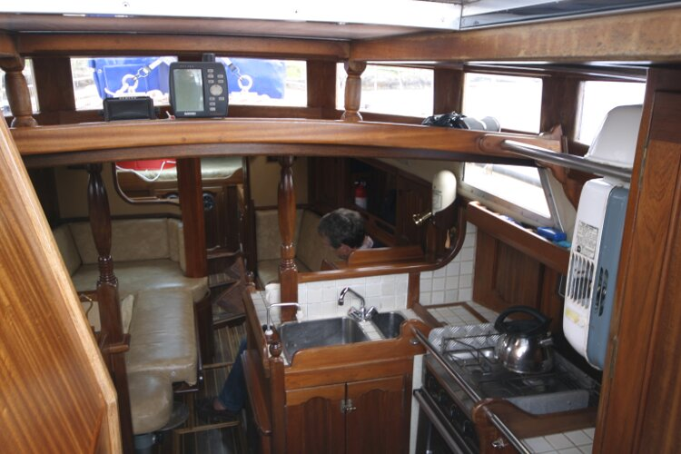 Bruce Roberts 34 Sailing Yachtfor sale Galley and Saloon - View from Companionway.