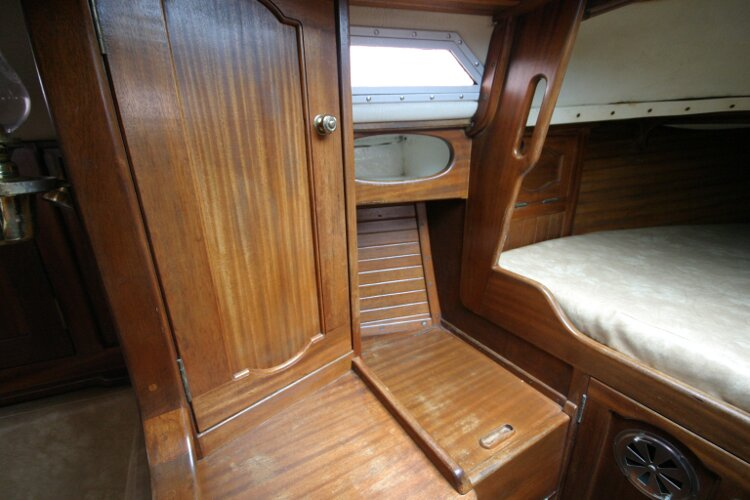 Bruce Roberts 34 Sailing Yachtfor sale Port Side Forward Cabin. - Storage locker and hidden heads unit.