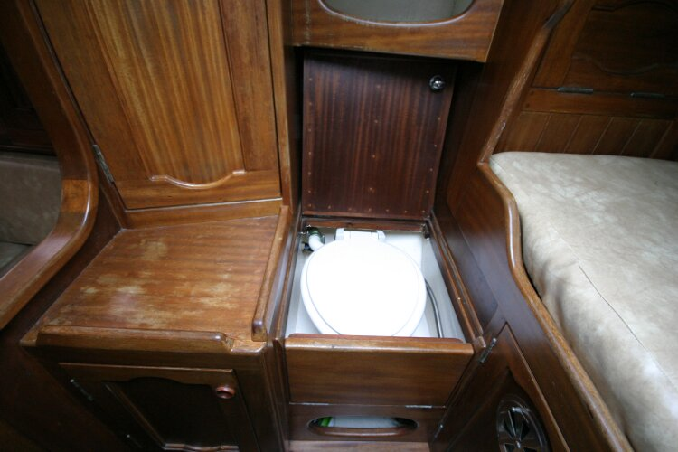 Bruce Roberts 34 Sailing Yachtfor sale Port Side Forward Cabin. - Heads unit revealed