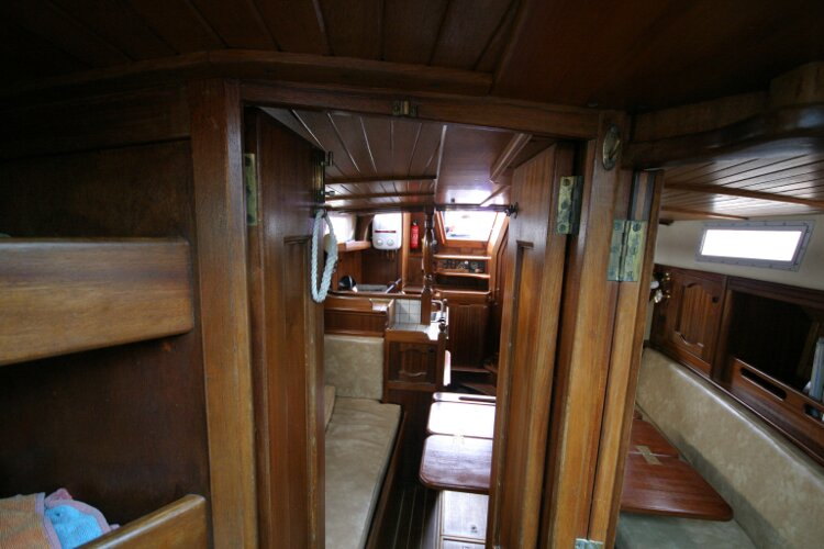 Bruce Roberts 34 Sailing Yachtfor sale Aft Cabin Doorway, Looking aft. - Closes for privacy.