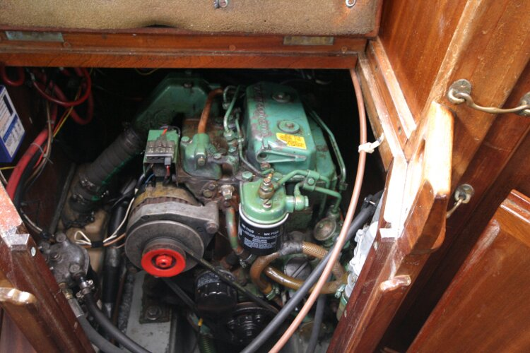 Bruce Roberts 34 Sailing Yachtfor sale Engine, closeup view. -