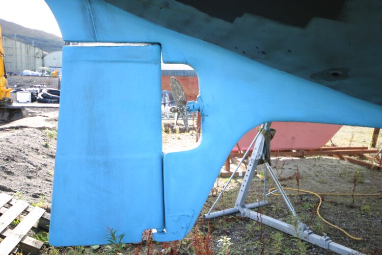 Bruce Roberts 34 Sailing Yachtfor sale Skeg and rudder - Ready for fresh antifouling