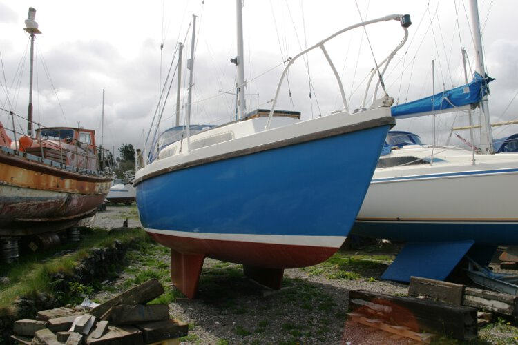 Colvic 26for sale The view from the starboard bow - She is currently stored ashore
