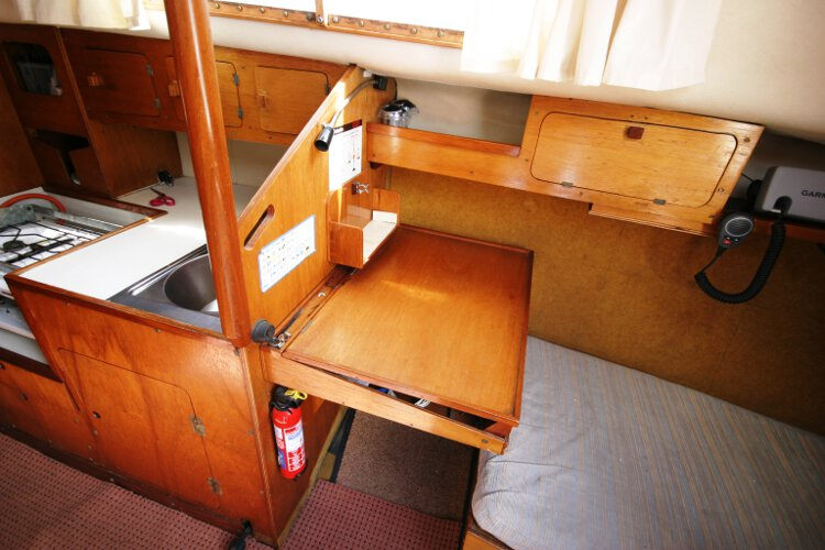 Colvic 26for sale The chart table - This is on the starboard side of the saloon with the galley further forward