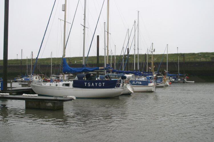Morgan Giles for sale Seen from across the dock - She is lying on her Marina berth