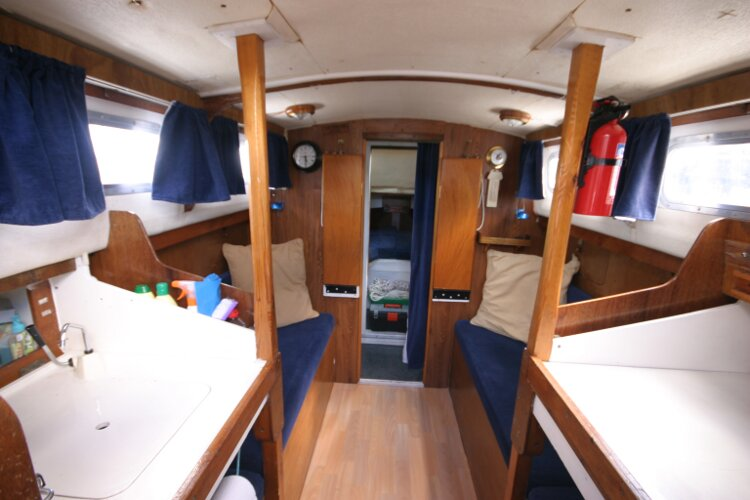 Colvic Springtide 25for sale Looking forward from the companionway steps - view of the saloon