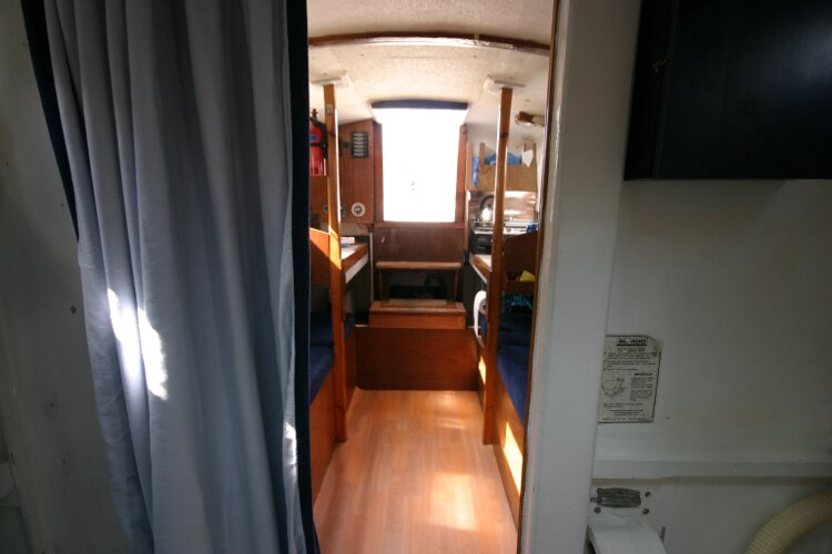 Colvic Springtide 25for sale Looking into the saloon - from the forward cabin area