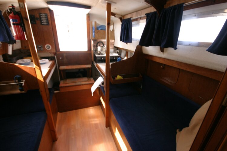 Colvic Springtide 25for sale Saloon looking aft - port side