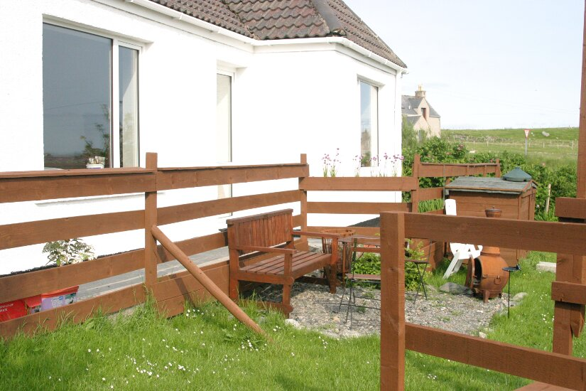 Western Isles Property -  House on the Isle of Lewisfor sale Raised path and barbecue area -