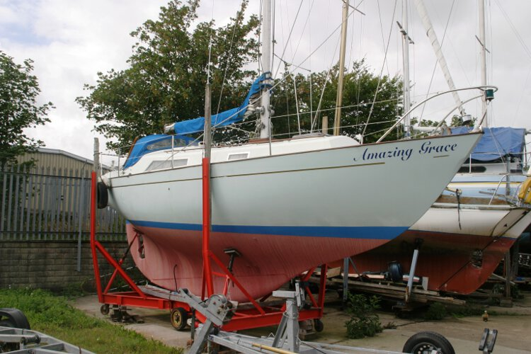 Halmatic 30for sale Seen from the  starboard side - On her yard cradle, note the long keel design.