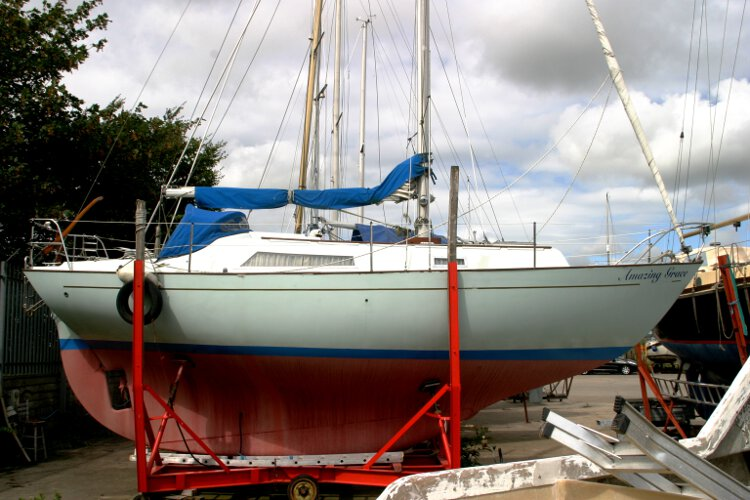 Halmatic 30for sale The view from starboard - Note the keel hung rudder and her long keel which makes her a strong and sea worthy vessel.