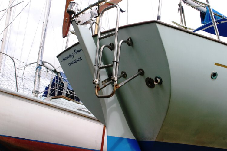 Halmatic 30for sale Stern view - Note the keel hung rudder and steel boarding ladder