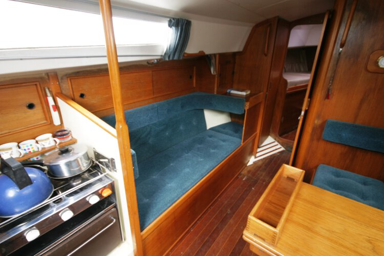 Halmatic 30for sale Saloon view - Showing the port side settee berth