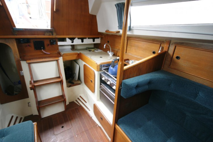Halmatic 30for sale Saloon view - Looking aft at the galley