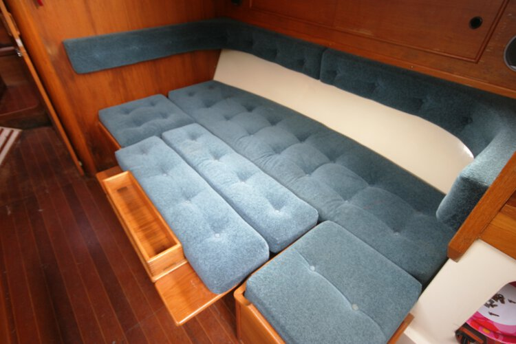 Halmatic 30for sale Saloon view - This shows the starboard settee converted to a double berth