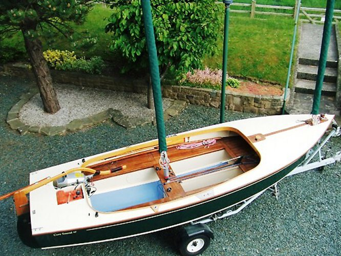 Wooden Classic Core Sound 17for sale Ashore - On her road trailer, note her roomy cockpit