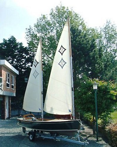 Wooden Classic Core Sound 17for sale Another close up off her sails - The rig is cat ketch