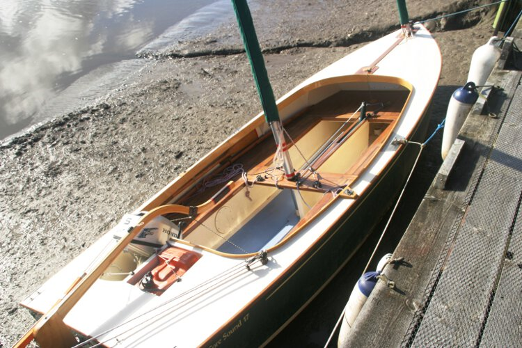 Wooden Classic Core Sound 17for sale Seen from ashore - Showing the cockpit and center board case