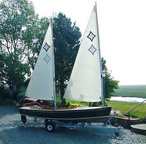 Wooden Classic Core Sound 17for sale On her road trailer - Her shallow draft makes for easy launching and recovery.