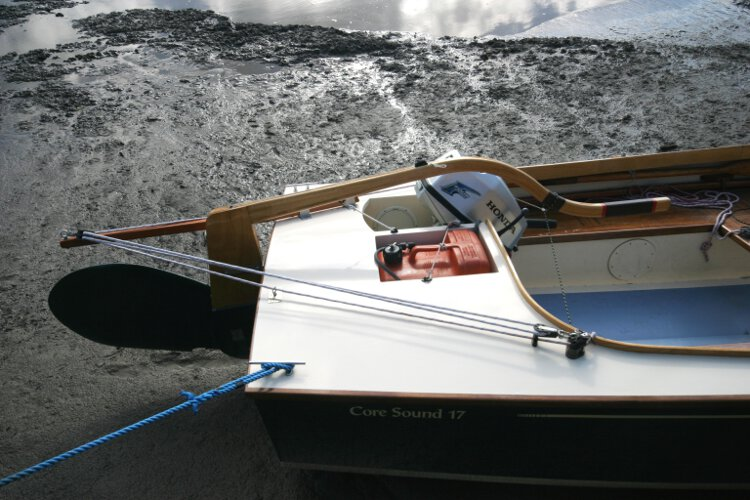 Wooden Classic Core Sound 17for sale Close up view of the stern deck - The engine is not included