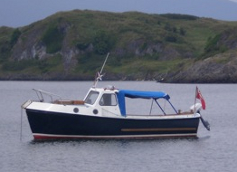 Romany 21for sale At Anchor in the loch - Zoomed in version of owner's photo.