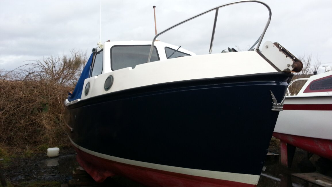 Romany 21for sale Winter in the boatyard -
