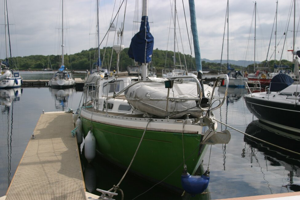 Trident Voyager 35for sale Bow view - Inflatable stored on foredeck. Davits are fitted for dinghy stowing whilst sailing.