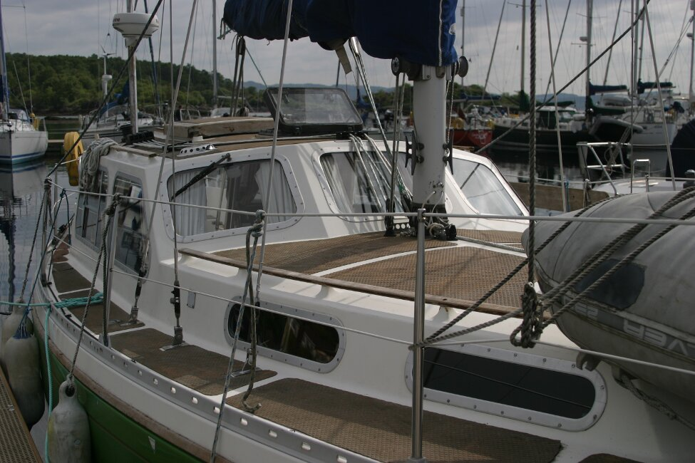 Trident Voyager 35for sale Close up at berth -