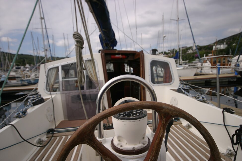 Trident Voyager 35for sale Sitting at the helm -