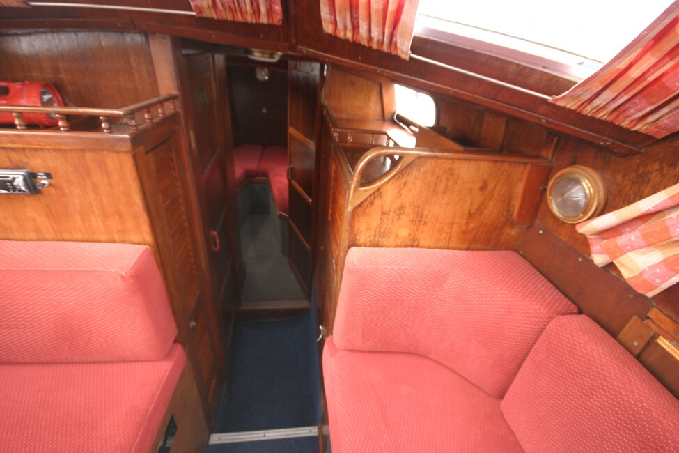 Trident Voyager 35for sale Passageway to heads and forward cabin -