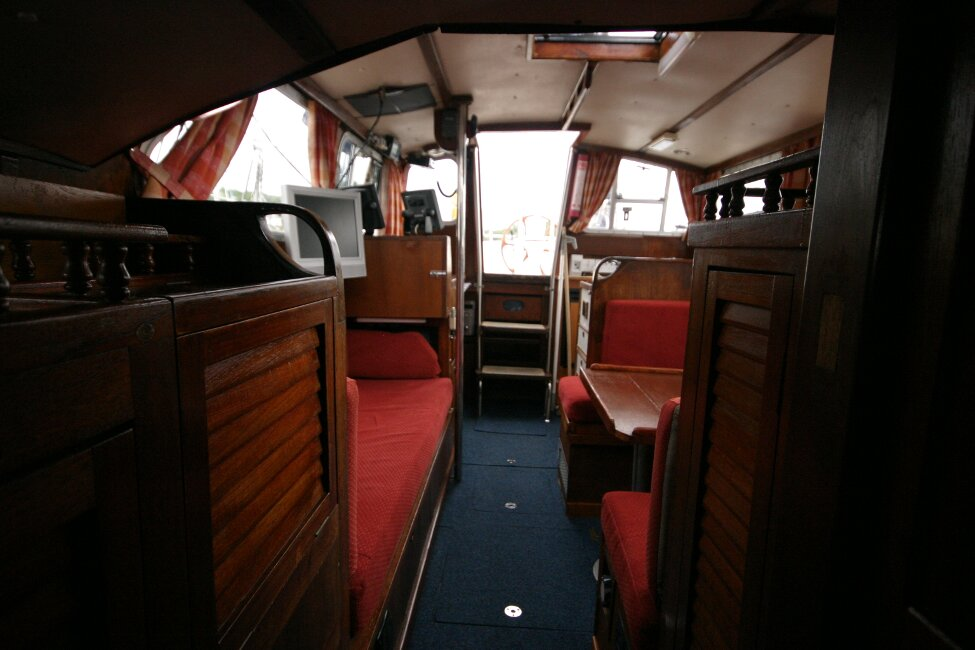 Trident Voyager 35for sale Looking towards companionway - from forward cabin