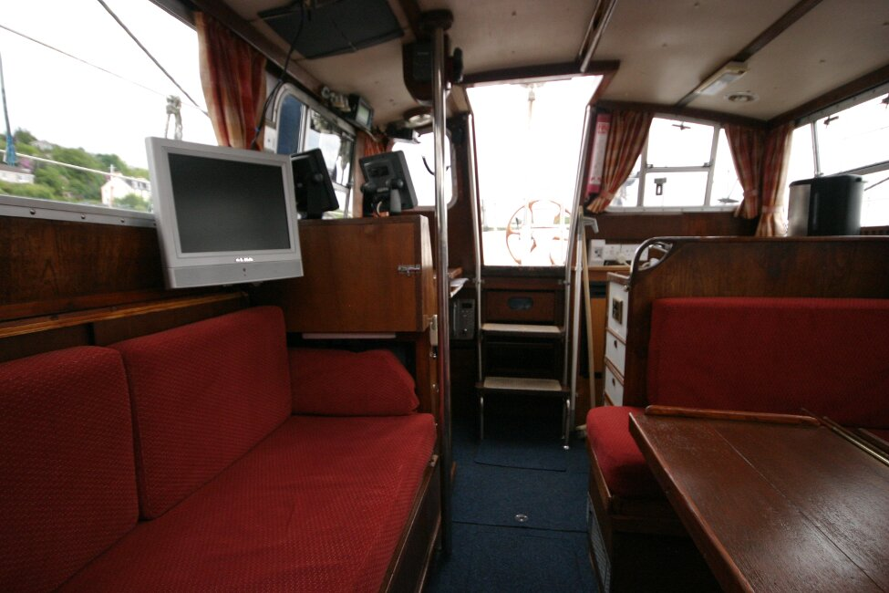 Trident Voyager 35for sale Saloon looking aft -