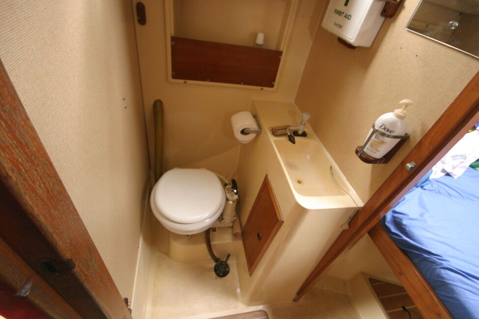 Sadler 29for sale Head compartment to port side of passageway -