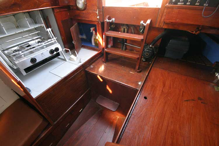 Twister 28for sale Saloon looking aft to galley -