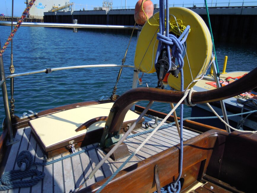 Wooden Classic 29 foot Bermudan Sloopfor sale Aft deck - Owner's photo
