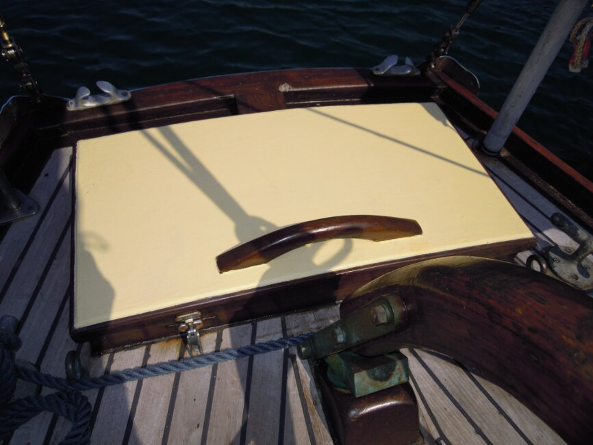Wooden Classic 29 foot Bermudan Sloopfor sale Aft Locker - Owner's photo