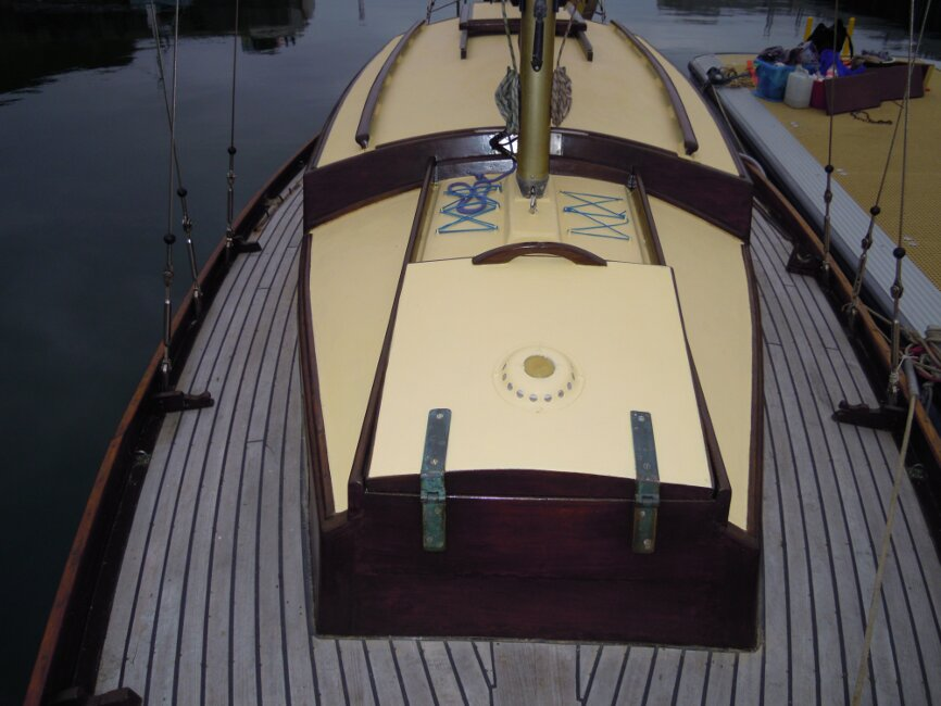 Wooden Classic 29 foot Bermudan Sloopfor sale View aft from foredeck - Owner's photo