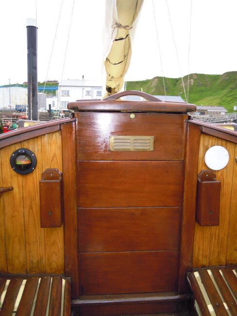 Wooden Classic 29 foot Bermudan Sloopfor sale Comanionway entrance - Owner's photo
