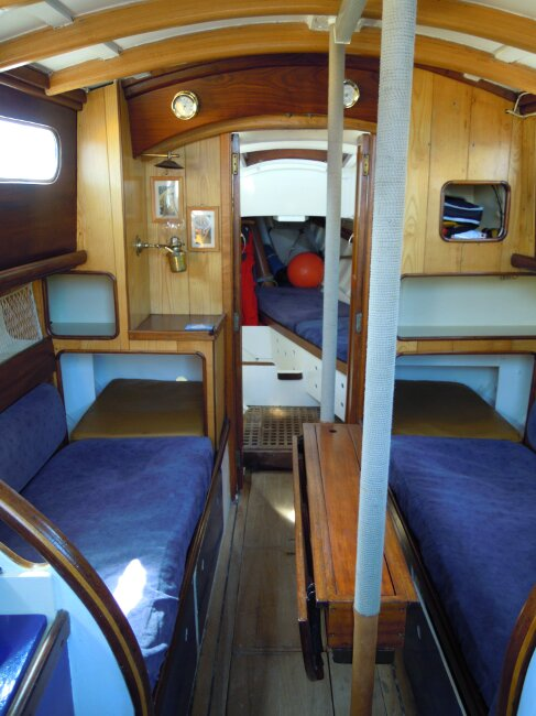 Wooden Classic 29 foot Bermudan Sloopfor sale Saloon from companionway entrance - Owner's photo