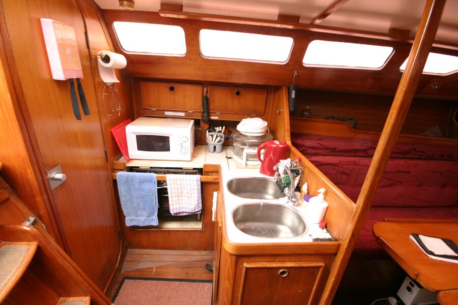 Jeanneau SunShine Regatta 38for sale Galley from companionway steps -