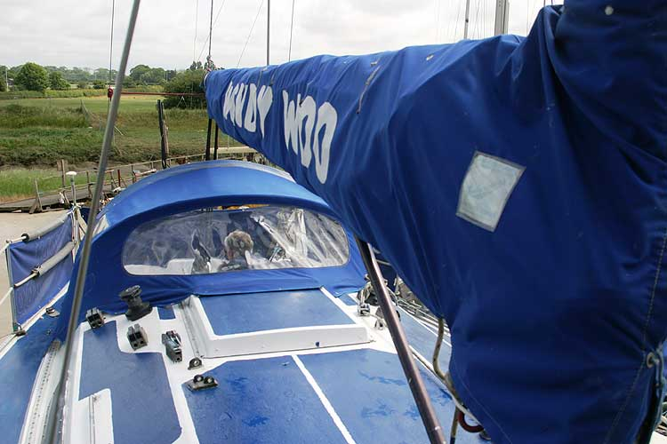 Bolero 35for sale Looking along the boom - Note the spray hood.