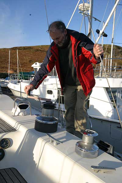 Jeanneau Trinidad 48 Ketchfor sale Winch - Rob for scale. this is a very substantial boat!