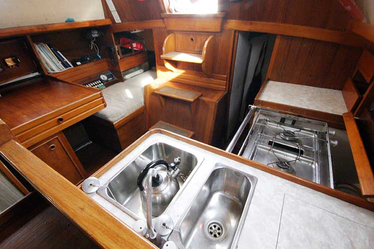 Vancouver 32for sale Galley and Nav station from the Saloon -