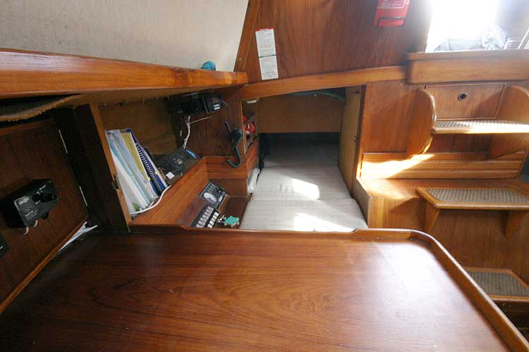 Vancouver 32for sale Quarter berth viewed over the nav station -