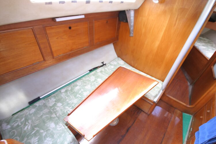 Colvic UFO 27for sale Saloon looking left from companionway -