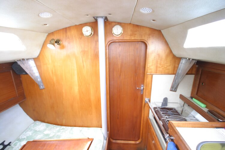 Colvic UFO 27for sale Saloon Looking forward. - With Forward Cabin Door Closed